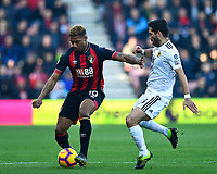 Jordon Ibe of AFC Bournemouth holds off Joao Moutinho of Wolverhampton Wanderers during AFC Bournemouth vs Wolverhampton Wanderers, Premier League Football at the Vitality Stadium on 23rd February 2019