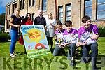 Launching the CBS the Green 5K/3K Fun Run on Sunday 1st October 1pm Front l-r Michael Everrett Christopher Nolan and Sean Quilter with back l-r Helen Kelliher, Teacher, Teresa Walker Lee strand Sponsor,  kieran Ahern, Foley's Spar Sponsor, Caroline Dillane, Teacher