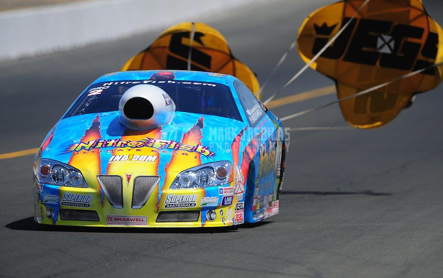 Jul. 30, 2011; Sonoma, CA, USA; NHRA pro stock driver Greg Stanfield during qualifying for the Fram Autolite Nationals at Infineon Raceway. Mandatory Credit: Mark J. Rebilas-