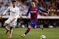 1st March 2020; Estadio Santiago Bernabeu, Madrid, Spain; La Liga Football, Real Madrid versus Club de Futbol Barcelona; Antoine Griezmann (FC Barcelona) turns away from the challenge