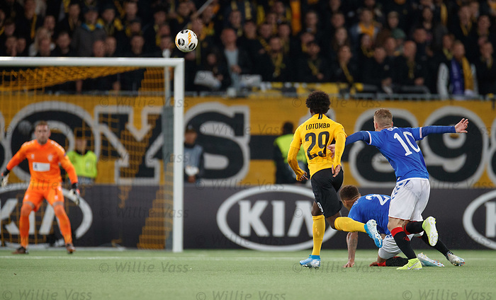 03.10.2019 Young Boys of Bern v Rangers: James Tavernier slips in the build up to the winning goal