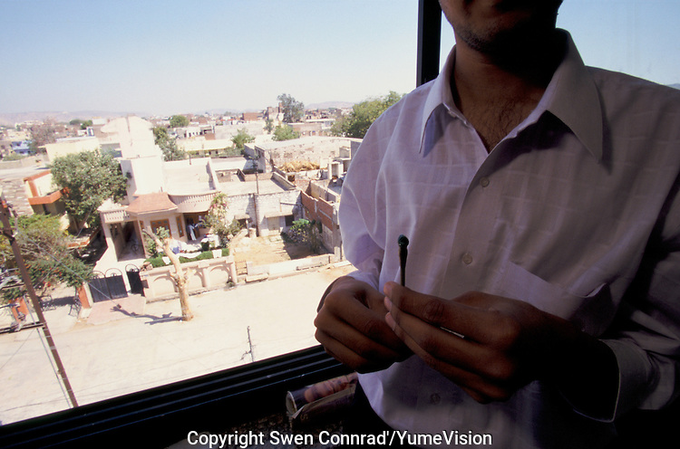 In Jaipur India, the world capital leader of Emerald cutter, this men is in charge of the team how give the first rough polishing on the stone