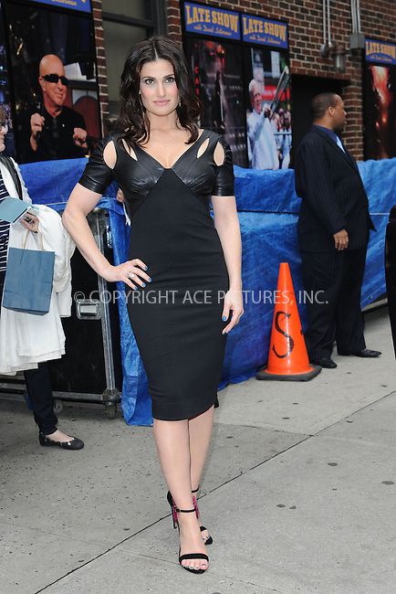 WWW.ACEPIXS.COM <br /> May 8, 2014 New York City<br /> <br /> Idina Menzel after taping an appearance on the Late Show with David Letterman on May 8, 2014 in New York City.<br /> <br /> Please byline: Kristin Callahan...ACEPIXS.COM<br /> Tel: (212) 243 8787 or (646) 769 0430<br /> e-mail: info@acepixs.com<br /> web: http://www.acepixs.com