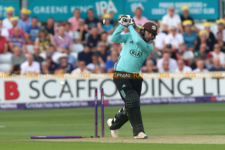 Mark Stoneman of Surrey is bowled out by Paul Walter during Essex Eagles vs Surrey, NatWest T20 Blast Cricket at The Cloudfm County Ground on 7th July 2017