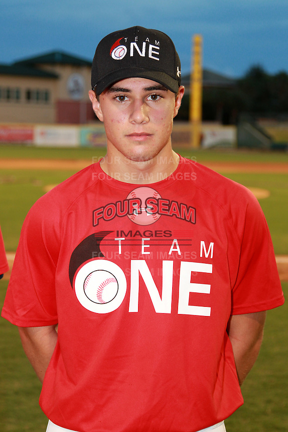 First Baseman/Outfielder Esteban Puerta (3) of American Heritage Plantation High School, committed to Florida Atlantic, participates in the Team One Futures Game East at Roger Dean Stadium in Jupiter, Florida September 25, 2010..  Photo By Mike Janes/Four Seam Images