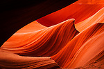 The wave Abstract formation in lower Antelope canyon slot canyon on Navajo land outside of Page, Arizona.