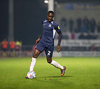 3rd December 2019; Pirelli Stadium, Burton Upon Trent, Staffordshire, England; English League One Football, Burton Albion versus Southend United; Elvis Bwomono of Southend United breaks forward with the ball at his feet - Strictly Editorial Use Only. No use with unauthorized audio, video, data, fixture lists, club/league logos or 'live' services. Online in-match use limited to 120 images, no video emulation. No use in betting, games or single club/league/player publications