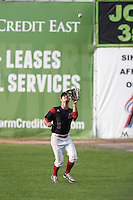 Batavia Muckdogs right fielder Aaron Knapp (5) catches a fly ball during a game against the Hudson Valley Renegades on July 31, 2016 at Dwyer Stadium in Batavia, New York.  Hudson Valley defeated Batavia 4-1. (Mike Janes/Four Seam Images)