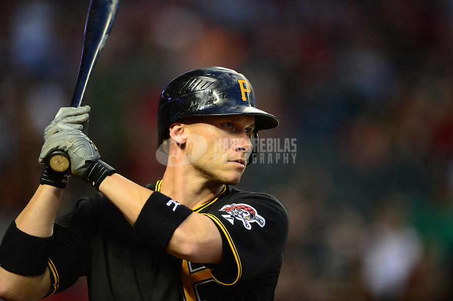 Apr. 17, 2012; Phoenix, AZ, USA; Pittsburgh Pirates infielder Clint Barmes at bat against the Arizona Diamondbacks at Chase Field. Mandatory Credit: Mark J. Rebilas-