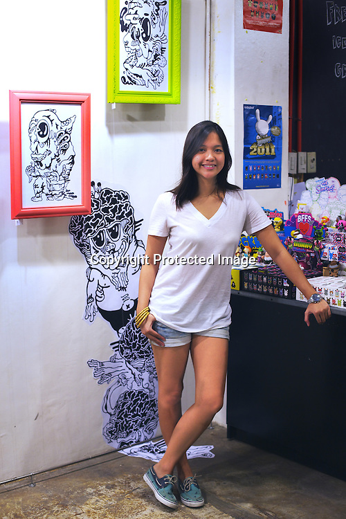 29 year old Filipino gallerist, Gaby B. dela Merced poses for a photo at the Vinyl on Vinyl gallery at The Collective in Makati, Manila in Philippines. Photo: Sanjit Das