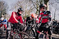 Former teammates Tim Wellens (BEL/Lotto-Soudal), Pim Ligthart (NED/Roompot-Nederlandse Loterij) &amp; Jurgen Roelandts (BEL/BMC) catching up at the race start in Gent<br /> <br /> Omloop Het Nieuwsblad 2018<br /> Gent &rsaquo; Meerbeke: 196km (BELGIUM)