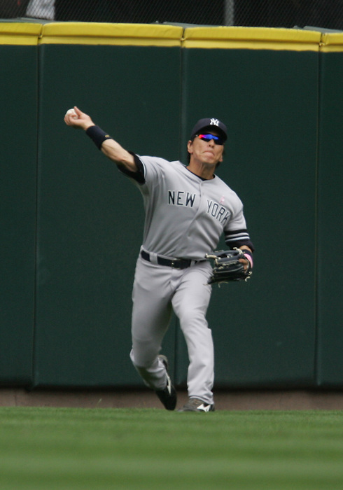 13 May 2007: Hideki Matsui makes the out in left field. Seattle Mariners vs New York Yankees at Safeco Park in Seattle, Washington.