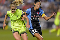 Chicago, IL - Sunday Sept. 04, 2016: Beverly Yanez, Christen Press during a regular season National Women's Soccer League (NWSL) match between the Chicago Red Stars and Seattle Reign FC at Toyota Park.