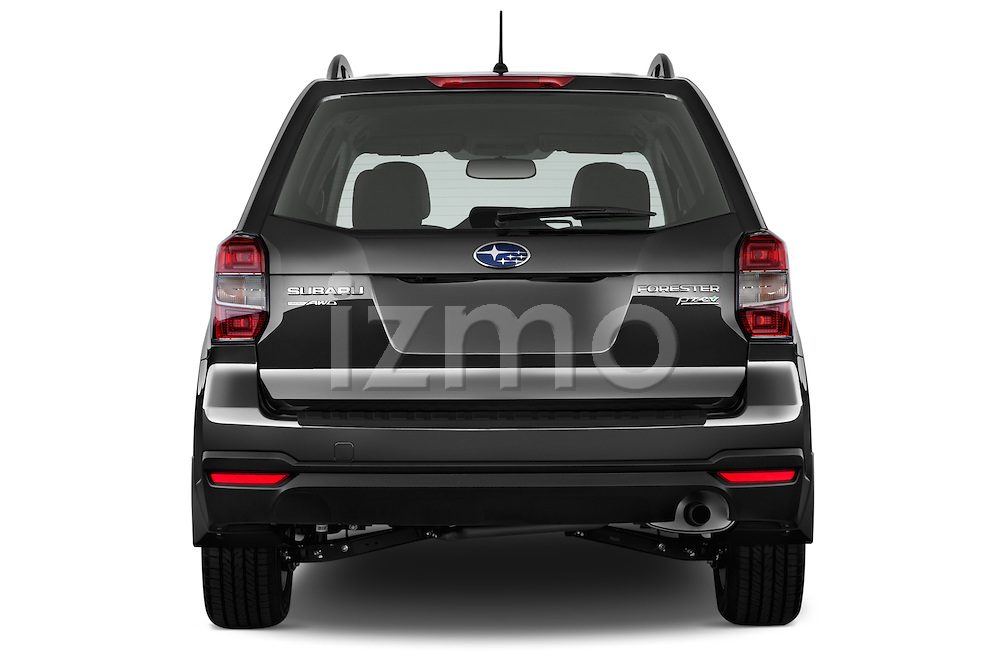 Straight rear view of a 2015 Subaru Forester 2.5I Pzev 5 Door SUV stock images
