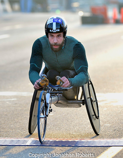 Rodes City Run 10K  2015 signature and winners images<br /> <br /> Aaron Pike wins the wheelchair division of the Rodes City Run 10K  2015.