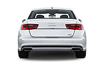Straight rear view of 2016 Audi A6 Competition 4 Door Sedan stock images