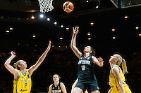 Melbourne, 15 August 2015 - Natalie BURTON of Australia and Lisa WALLBUTTON of New Zealand compete for the ball in game one of the 2015 FIBA Oceania Championships in women's basketball between the Australian Opals and the New Zealand Tall Ferns at Rod Laver Arena in Melbourne, Australia. Aus def NZ 61-41. (Photo Sydney Low / sydlow.com)