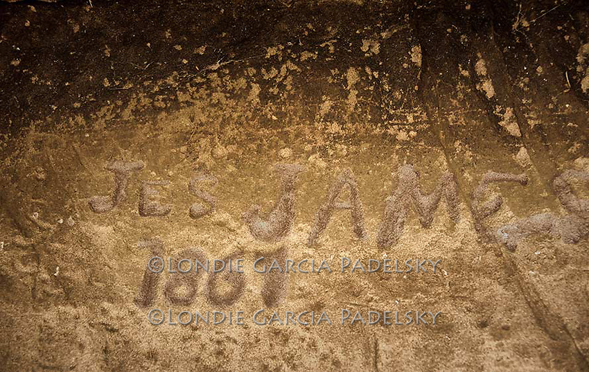 American outlaw and legend, 'Jessie James 1867'  name etched in boulder cave found in California