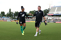 Cary, North Carolina  - Saturday June 17, 2017: Abby Smith and Neill Caine prior to a regular season National Women's Soccer League (NWSL) match between the North Carolina Courage and the Boston Breakers at Sahlen's Stadium at WakeMed Soccer Park. The Courage won the game 3-1.