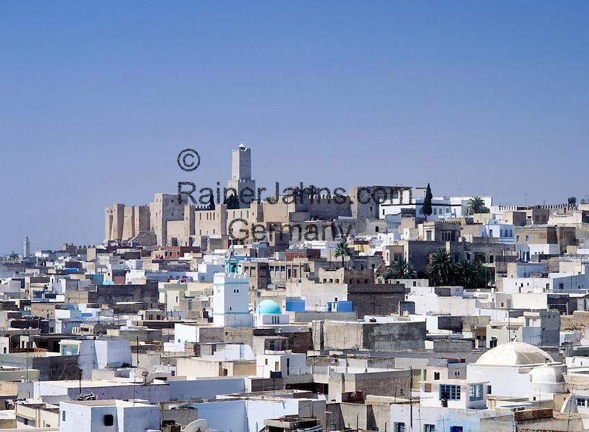 Tunisia, Sousse: view from Ribat across Medina towards Kasbah