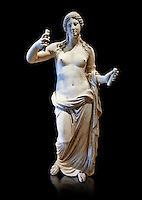 Aphrodite- type known as the Venus of Arles. A Roman statue in marble of the 1st - 2nd century AD in marble from Rome. The statue is a 1.94-metre-high (6.4 ft) and is  probably a copy of the Aphrodite of Thespiae a lost bronze sculpture by 4th century BC Greek Athenian sculpture Praxiteles . From the Royal collection Inv MR 366 ( or Ma 437), Louvre Museum, Paris.