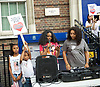 Mark Duggan <br /> march and demonstration / vigil at the Broadwater Estate and outside Tottenham Police Station, Tottenham, London, Great Britain <br /> 4th August 2017 <br /> <br /> on the 6th anniversary after he was killed in 2011. <br /> <br /> Shania Duggan (daughter) speaking (in pink top) <br /> <br /> <br /> Photograph by Elliott Franks <br /> Image licensed to Elliott Franks Photography Services