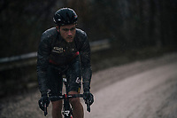 Tosh Van der Sande's (BEL/Lotto-Soudal) 'race-face'<br /> <br /> 12th Strade Bianche 2018<br /> Siena > Siena: 184km (ITALY)