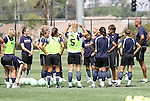 21 August 2009: Los Angeles head coach Abner Rogers (third from right) talks to his team. The Los Angeles Sol held a training session at the Home Depot Center in Carson, California one day before playing Sky Blue FC in the inaugural Women's Professional Soccer Championship Game.