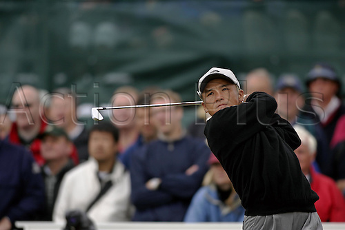 17 July 2004: Japanese golfer Shigeki Maruyama (JPN) drives from the 5th tee during the third round of The Open Championship played at Royal Troon, Scotland. Photo: Glyn Kirk/Action Plus...golf golfer drive driver driving iron 040717.British