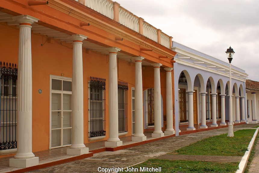 Restored neo-classical style houses in the Spanish colonial river town of Tlacotalpan, Veracruz, Mexico. Tlacotlapan was made a UNESCO World Heritage Site in 1998.