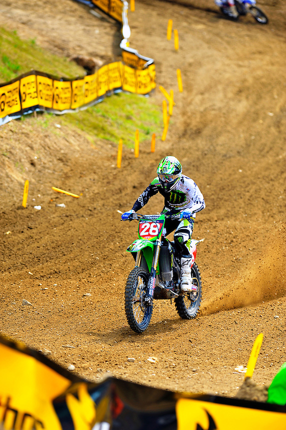 Tyla Rattray of Monster Energy/Kawasaki gets the hole shot for the lead during the Lucas Oil AMA Pro Motocross at Budds Creek National in Mechanicsville, Maryland on Saturday, June 18, 2011. Alan P. Santos/DC Sports Box