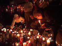 SANTA BARBARA, Calif.  Grieving the dead, Isla Vista residents, family and  friends of four people  killed, gather for a Monday night candlelight ceremony in memory  of those killed:  Nicholas Shaw Bourdakis and Christopher Edward Divis, both 20 and UCSB students; Ruth Dasha Golda Levy, 20, a Santa Barbara City College student; and Elie Israel, 27, of San Francisco., all died when a car allegedly driven by David Edward Attias, 18, crashed into the group Friday night.    Levy's older brother, Albert Arthur Levy, 27, remained in critical condition Monday after undergoing multiple surgeries.,
