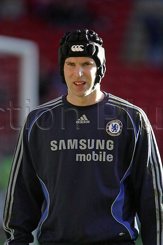 20 January 2007: Portrait of Chelsea goalkeeper Petr Cech wearing his protective head-guard before the Premiership game between Liverpool and Chelsea, played at Anfield. Liverpool won the match 2-0. Photo: Actionplus....070120 football soccer player keeper hat