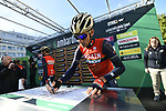 Vincenzo Nibali (ITA) Bahrain-Merida at sign on before the start of the 111th edition of Il Lombardia 2017 &quot; The Race of the Falling Leaves&quot; the final monument of the season, running 247km from Bergamo to Como, Italy. 7th October 2017.<br /> Picture: LaPresse/Fabio Ferrari | Cyclefile<br /> <br /> <br /> All photos usage must carry mandatory copyright credit (&copy; Cyclefile | LaPresse/Fabio Ferrari)