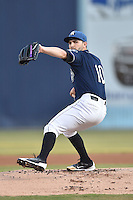 Asheville Tourists starting pitcher Tyler Chatwood delivers a pitch during game 3 of the South Atlantic League Championship Series between the Asheville Tourists and the Hickory Crawdads on September 17, 2015 in Asheville, North Carolina. The Crawdads defeated the Tourists 5-1 to win the championship. (Tony Farlow/Four Seam Images)