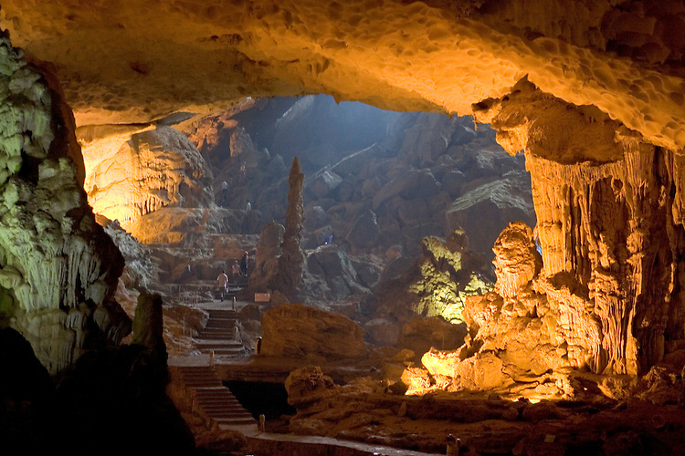 One of many caves located within the limestone pinnacles of Halong Bay, northern Vietnam coast.