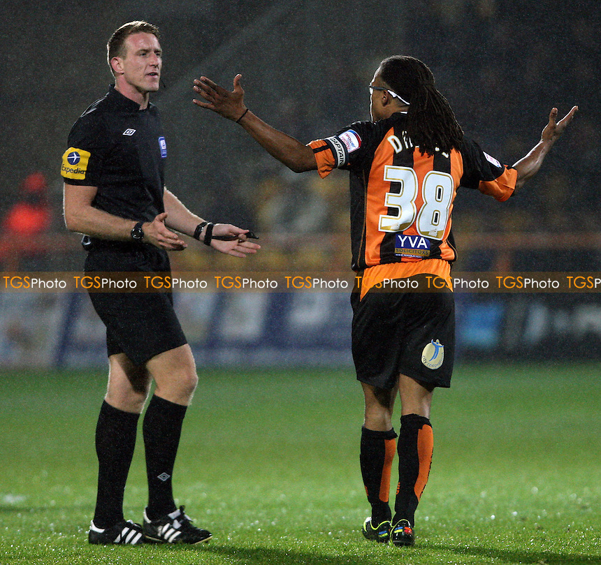 Edgar Davids of Barnet is cautioned by the referee - Barnet vs Northampton Town, nPower League 2 at Underhill Stadium, Barnet - 19/10/12 - MANDATORY CREDIT: Rob Newell/TGSPHOTO - Self billing applies where appropriate - 0845 094 6026 - contact@tgsphoto.co.uk - NO UNPAID USE.