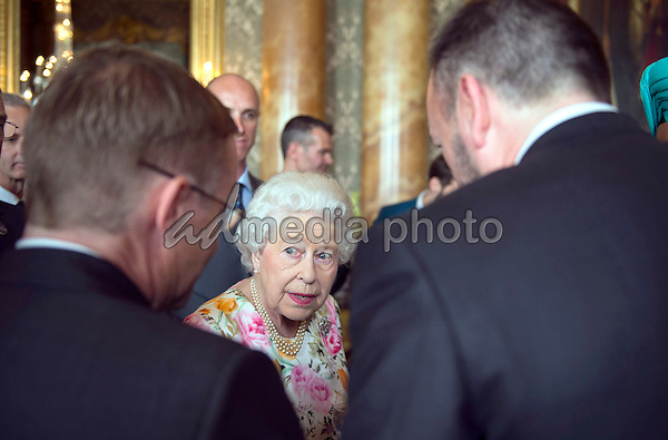 14 July 2016 - Queen Elizabeth II during a reception for the winners of  The Queen's Awards for Enterprise 2016 at Buckingham Palace in central London. Winners of The Queen's Awards for Enterprise 2016 which recognise excellence in international trade, innovation and sustainable development were joined by the Queen at the celebration on Thursday evening. More than 500 guests, including representatives from 254 winning companies, were at the event. Photo Credit: ALPR/AdMedia