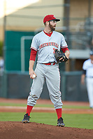 Greeneville Reds relief pitcher A.J. Moore (38) looks to his catcher for the sign against the Pulaski Yankees at Calfee Park on June 23, 2018 in Pulaski, Virginia. The Reds defeated the Yankees 6-5.  (Brian Westerholt/Four Seam Images)