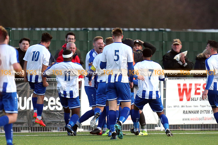 Jonathan Nzengo of Aveley is congratulated after scoring the third goal during Aveley vs Chelmsford City, Buildbase FA Trophy Football at Parkside on 8th February 2020