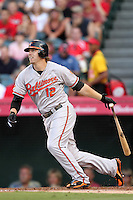 Baltimore Orioles first baseman Mark Reynolds #12 bats against the Los Angeles Angels at Angel Stadium on August 20, 2011 in Anaheim,California. Los Angeles defeated Baltimore 9-8.(Larry Goren/Four Seam Images)