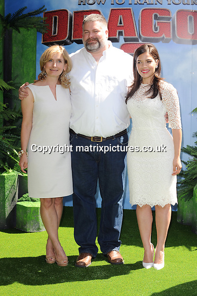 NON EXCLUSIVE PICTURE: PAUL TREADWAY / MATRIXPICTURES.CO.UK<br /> PLEASE CREDIT ALL USES<br /> <br /> WORLD RIGHTS<br /> <br /> British author Cressida Cowell, Canadian director Dean DeBlois and American actress America Ferrera attending the UK Gala Screening of How To Train Your Dragon 2, at The Vue Leicester Square in London.<br /> <br /> JUNE 22nd 2014<br /> <br /> REF: PTY 142972
