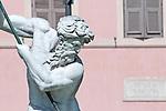 Detail of the Fountain of Neptune (Fontana del Nettuno) in Piazza Navona in Rome, Italy.