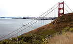 """The Two Bridges""  San Francisco, California.  A view of the East Bay Bridge through the Golden Gate Bridge."
