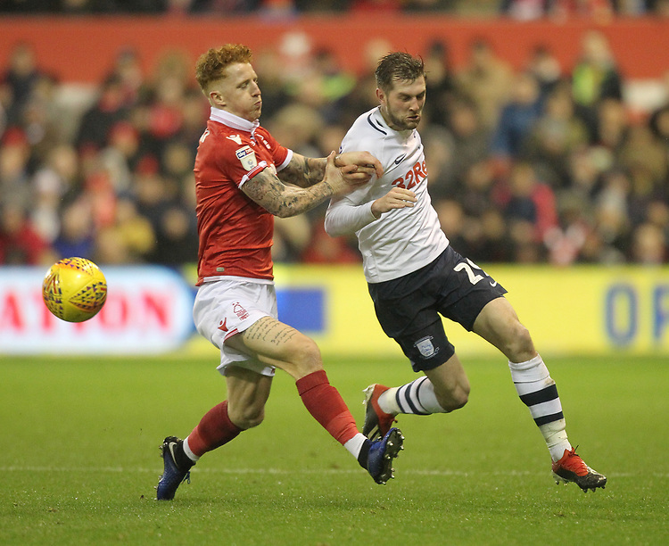 Preston North End's Tom Barkuizen battles with  Nottingham Forest's Jack Colback<br /> <br /> Photographer Mick Walker/CameraSport<br /> <br /> The EFL Sky Bet Championship - Nottingham Forest v Preston North End - Saturday 8th December 2018 - The City Ground - Nottingham<br /> <br /> World Copyright © 2018 CameraSport. All rights reserved. 43 Linden Ave. Countesthorpe. Leicester. England. LE8 5PG - Tel: +44 (0) 116 277 4147 - admin@camerasport.com - www.camerasport.com