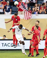 KANSAS CITY, KS - JUNE 26: Matt Miazga #19 goes up over Jose Fajardo #17 for a header during a game between United States and Panama at Children's Mercy Park on June 26, 2019 in Kansas City, Kansas.