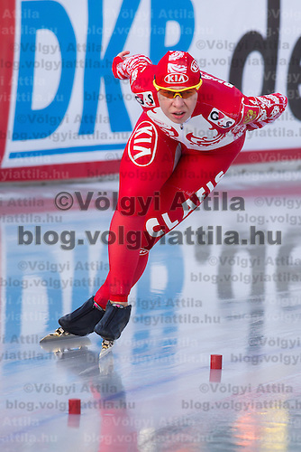 Russia's Yuliya Skokova competes in Women's 5000m race of the Speed Skating All-round European Championships in Budapest, Hungary on January 8, 2012. ATTILA VOLGYI