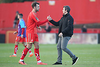 Alfreton Town's  David Shiels Fleetwood Town manager Joey Barton at the end of todays match<br /> <br /> Photographer Rachel Holborn/CameraSport<br /> <br /> Emirates FA Cup First Round - Alfreton Town v Fleetwood Town - Sunday 11th November 2018 - North Street - Alfreton<br />  <br /> World Copyright &copy; 2018 CameraSport. All rights reserved. 43 Linden Ave. Countesthorpe. Leicester. England. LE8 5PG - Tel: +44 (0) 116 277 4147 - admin@camerasport.com - www.camerasport.com