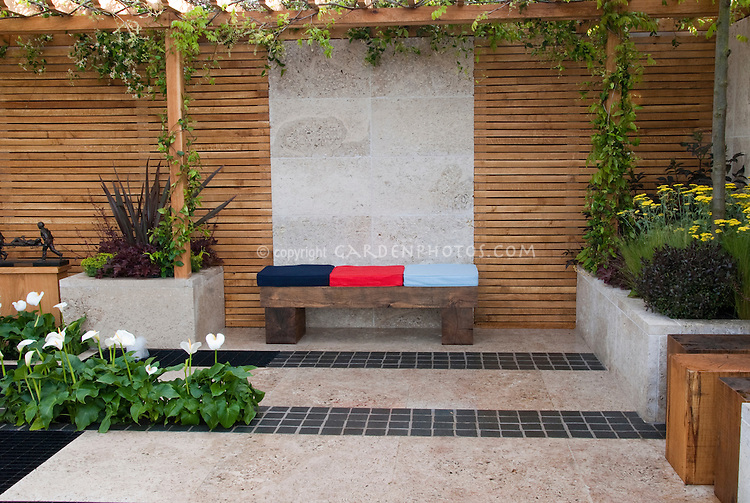 Outdoor room patio plant flower stock photography for Privacy wall planter
