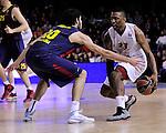 BARCELONA. BASKET. EUROLIGA.<br /> BARCELONA-EMPORIO ARMANI.<br /> 14/02/2014<br />Abriles (Barça) y Keith Langford (E.A.)